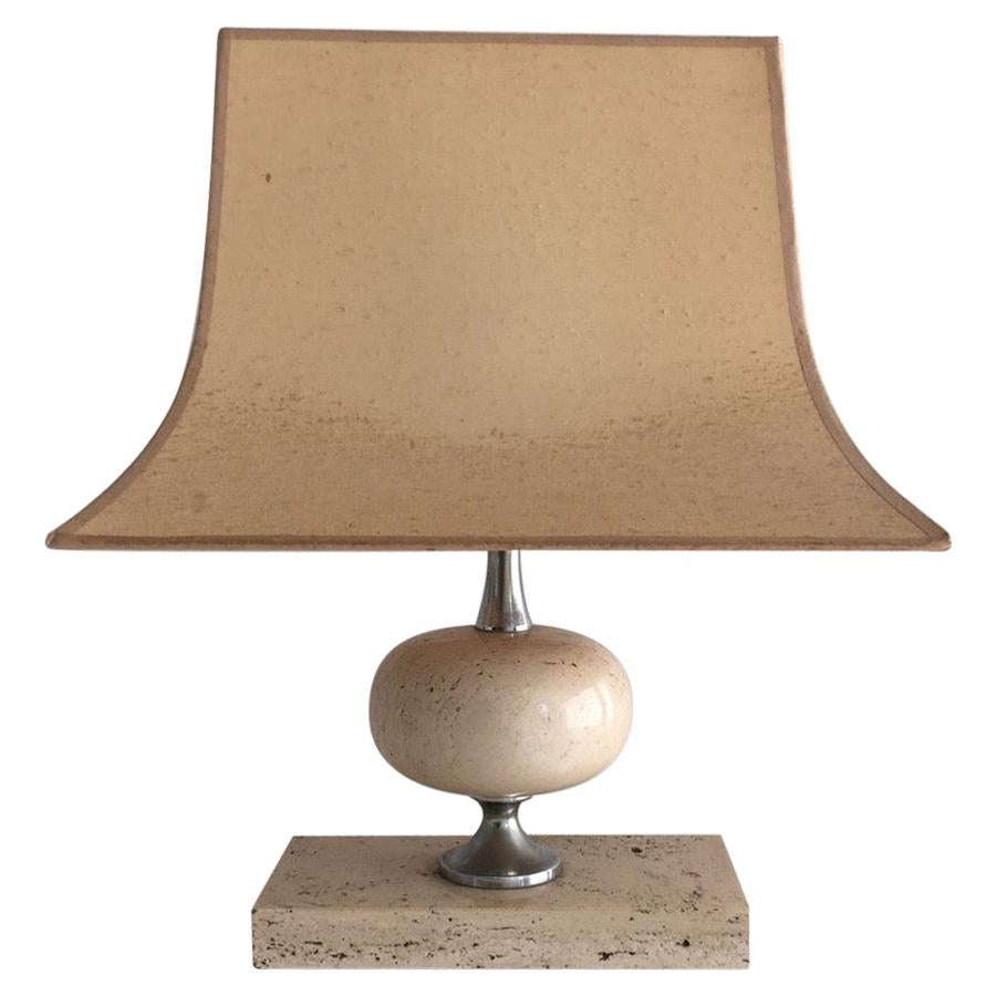 Philippe Barbier, Travertine and Chrome Lamp, French, circa 1970