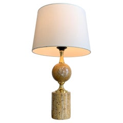 Philippe Barbier Travertine and Gilt Table Lamp