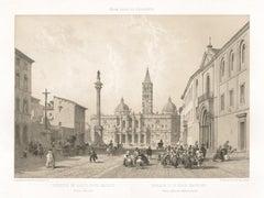 Basilica di St Maria Maggiore, Rome, Italy. Tinted lithograph, Philippe Benoist