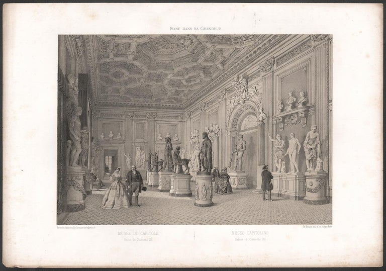Capitoline Museum, Rome, Italy. Classical sculpture. Tinted lithograph, 1870 - Print by  Philippe Benoist