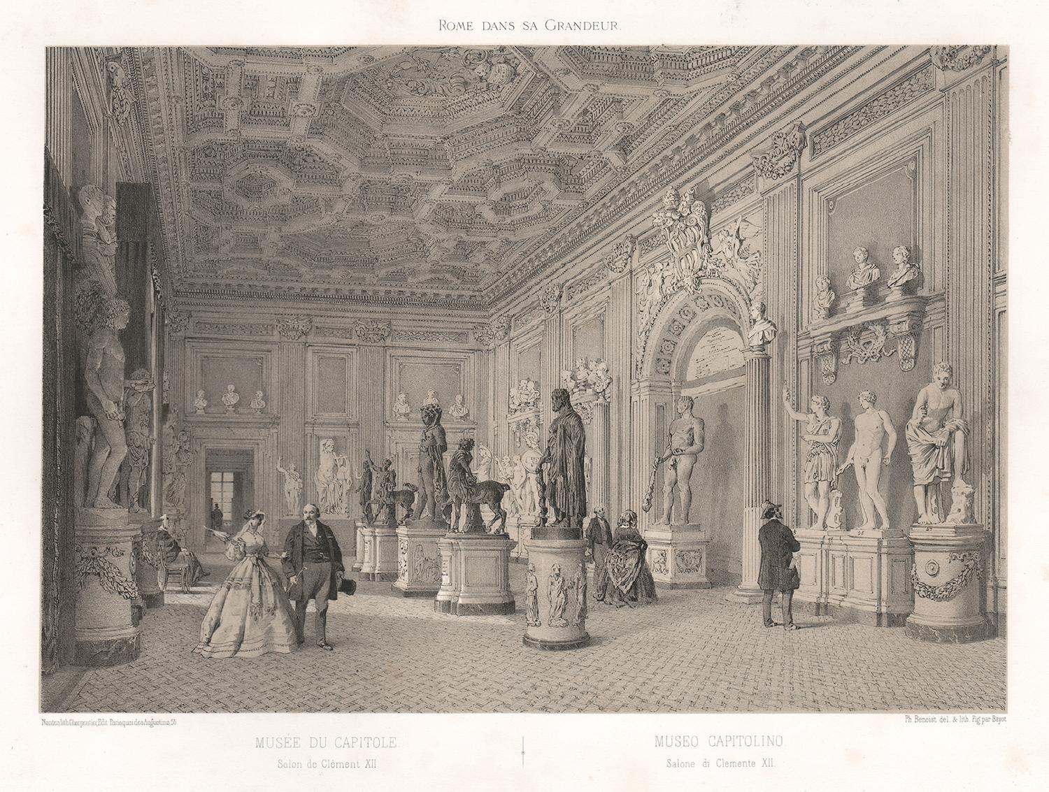 Capitoline Museum, Rome, Italy. Classical sculpture. Tinted lithograph, 1870