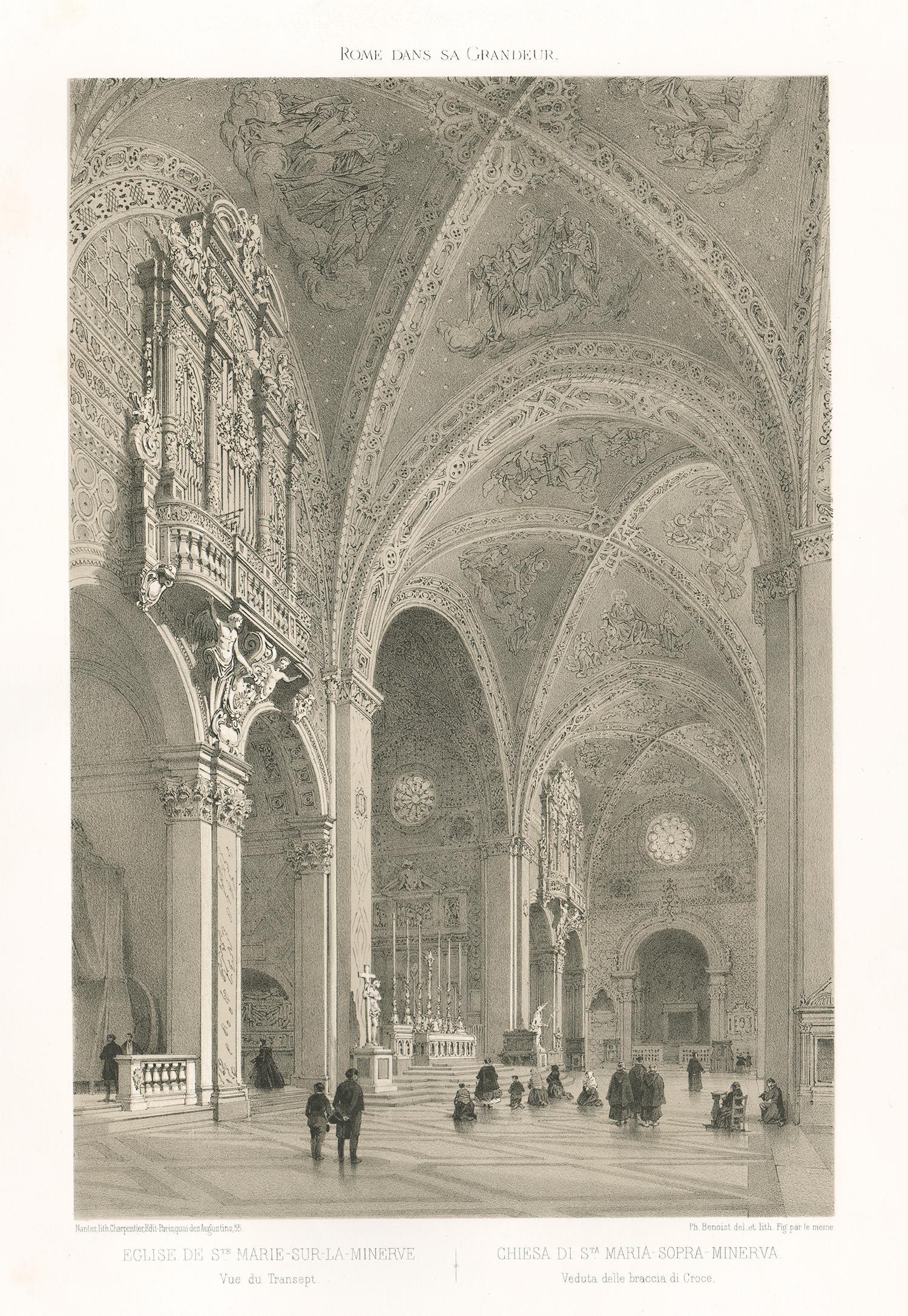 Chiesa di St Maria-Sopra-Minerva, Rome, Italy. Lithograph by Philippe Benoist