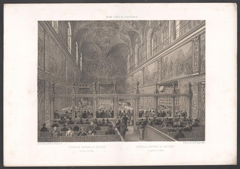 Cistine Chapel, Vatican, Rome, Italy. Tinted lithograph by Philippe Benoist - Victorian Print by  Philippe Benoist