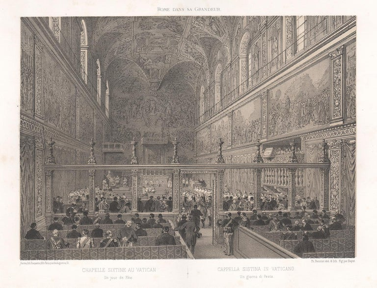 Cistine Chapel, Vatican, Rome, Italy. Tinted lithograph by Philippe Benoist - Print by  Philippe Benoist