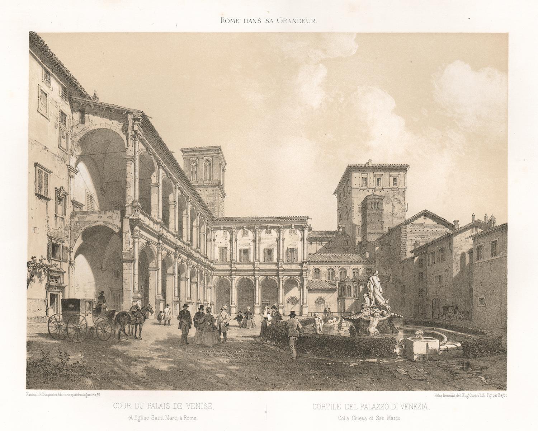 Cortile del Palazzo di Venezia, Rome, Italy. Lithograph