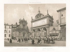 Fontana dell' Acqua Felice & Santa Maria della Vittoria, Rome, Italy. Lithograph