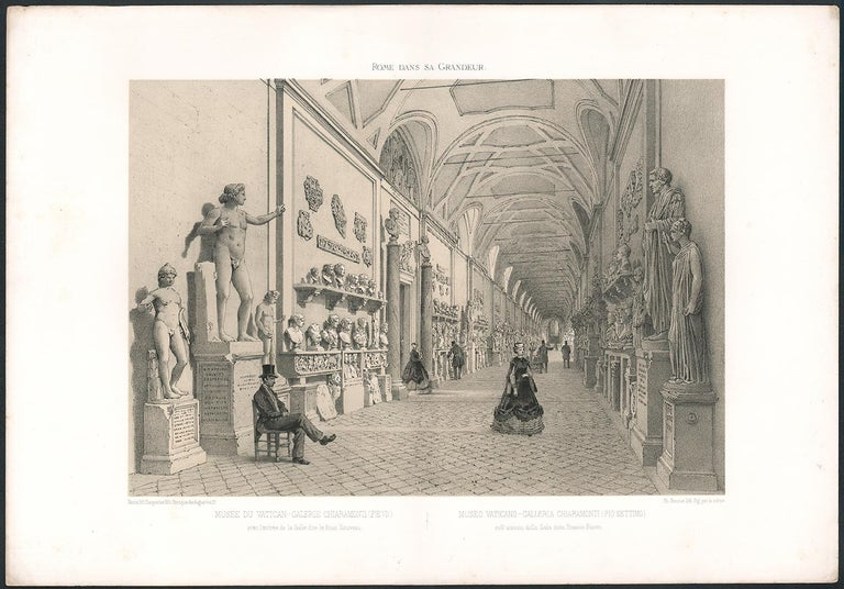 Galerie Chiaramonti, Vatican, Rome, Italy. Classical sculpture. Lithograph, 1870 - Print by  Philippe Benoist