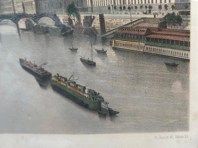 'Le Louvre et La Seine,' by Phillipe Benoist, Four-color Lithograph - Print by  Philippe Benoist