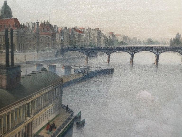 'Le Louvre et La Seine,' by Phillipe Benoist, Four-color Lithograph - Academic Print by  Philippe Benoist