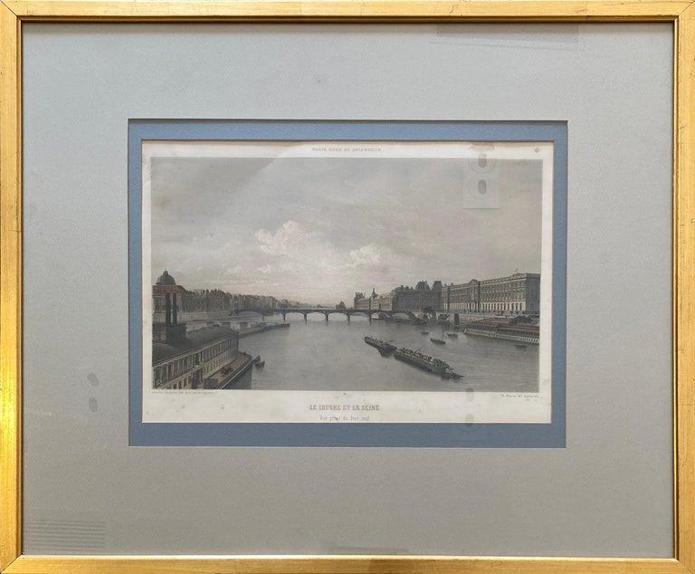Philippe Benoist Landscape Print - 'Le Louvre et La Seine,' by Phillipe Benoist, Four-color Lithograph