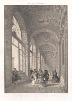 Loggia of Raphael, Vatican, Rome, Italy. Tinted lithograph by Philippe Benoist