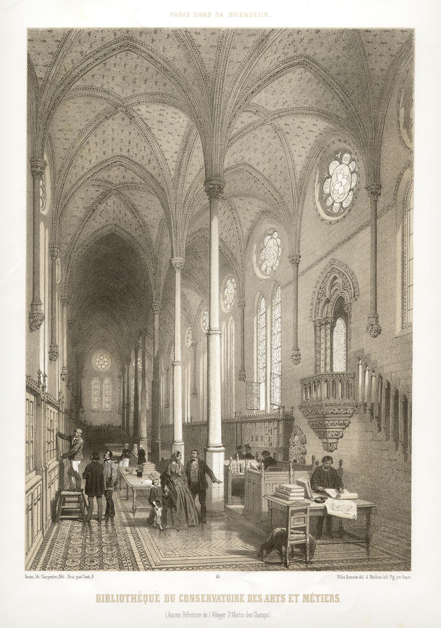 Paris - Bibliotheque du Conservatoire des Arts et Metiers, lithograph, 1861