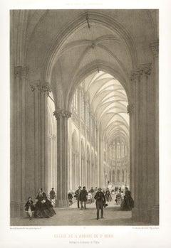 Paris - Eglise de L'abbaye de St Denis, French lithograph, 1861