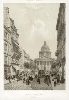 Paris - Eglise Saint Genevieve (Ancien Pantheon), French lithograph, 1861