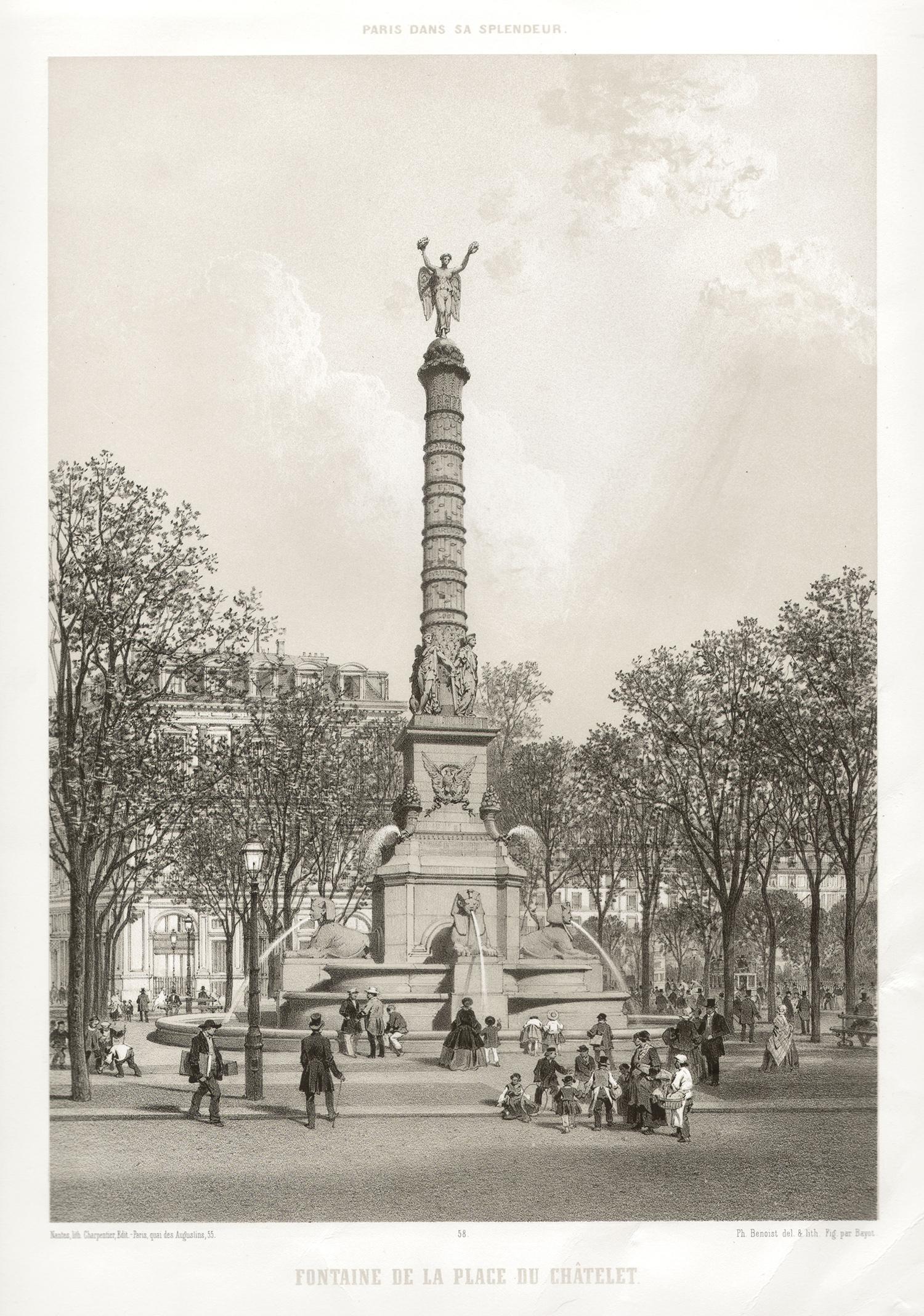 Paris - Fontaine de la Place du Chatelet, French lithograph, 1861