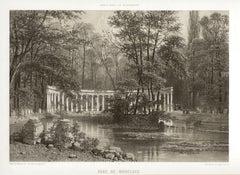 Paris - Parc de Monceaux, French lithograph, 1861