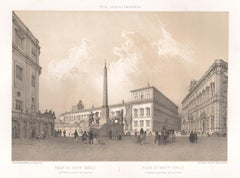 Piazza di Monte Cavallo, Rome, Italy. Tinted lithograph by Philippe Benoist