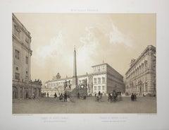 Piazza Di Monte-Cavallo, Rome. Tinted lithograph, 1870