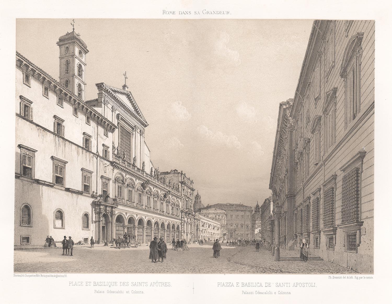 Piazza e Basilica de Santi Apostoli, Rome, Italy. Lithograph, Philippe Benoist