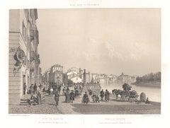 Porto di Ripetta, Rome, Italy. Lithograph