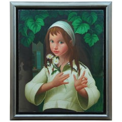 Philippe Bonamy 'French, b.1926' Oil Portrait Painting Girl with Daisies