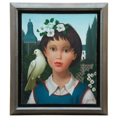 Philippe Bonamy Oil Painting on Canvas Portrait Girl with Dove