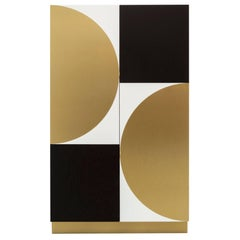 PHILIPPE CABINET - Modern Geometric Brass Inlay on a Oak and Acrylic Body.