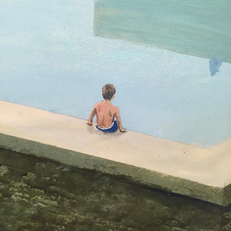 La piscine - Contemporary Painting by Philippe Charles Jacquet