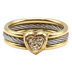Philippe Charriol 18 Karat and Stainless Steel Heart Cluster Diamond Cable Ring