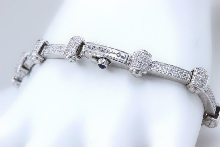 Phillip Charriol Diamond Bracelet Metal: 18k White Gold Length:  7 Inches Width:  18 MM at the Diamond Station / 4 MM Bracelet Diamonds:  Round  Diamonds 1.00 TCW Color & Clarity:  G color, VS1 clarity Weight:  22.3 grams This is a designer Philippe