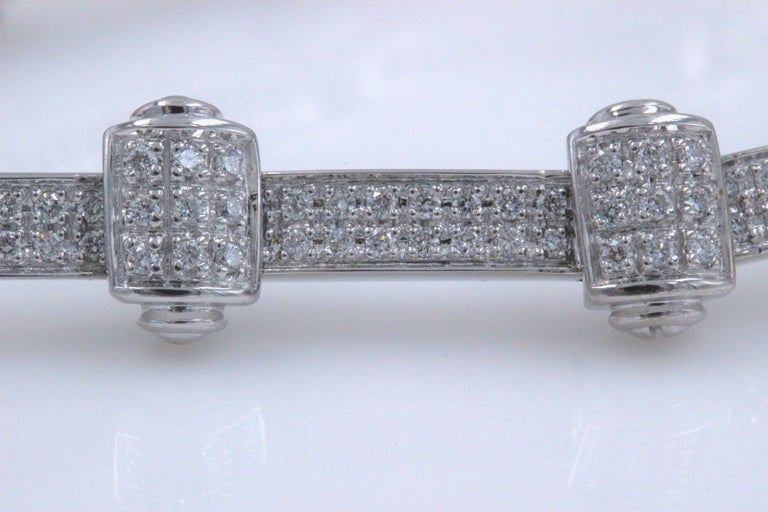 Philippe Charriol 18 Karat White Gold Pave Diamond Bracelet 1.00 Carat In Excellent Condition For Sale In San Diego, CA