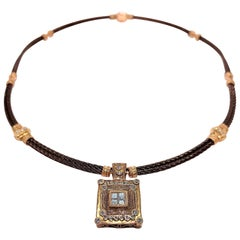 Philippe Charriol Rose Gold Diamond and Cable Necklace