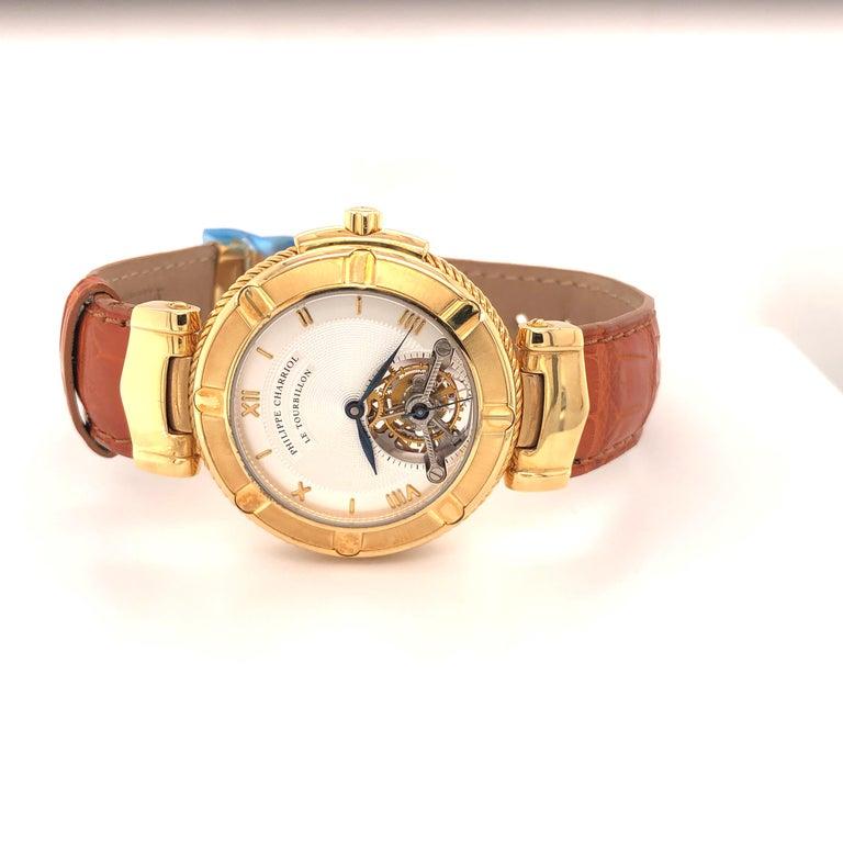 Women's or Men's Philippe Charriol Tourbillon 18 Karat Yellow Gold Bezel Watch Limited Edition #4 For Sale