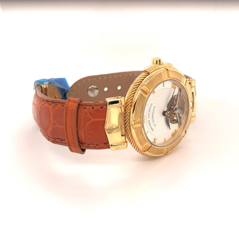 Philippe Charriol Tourbillon 18 Karat Yellow Gold Bezel Watch Limited Edition #4 For Sale 1