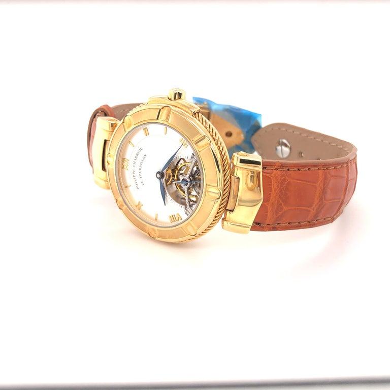 Philippe Charriol Tourbillon 18 Karat Yellow Gold Bezel Watch Limited Edition #4 For Sale 2