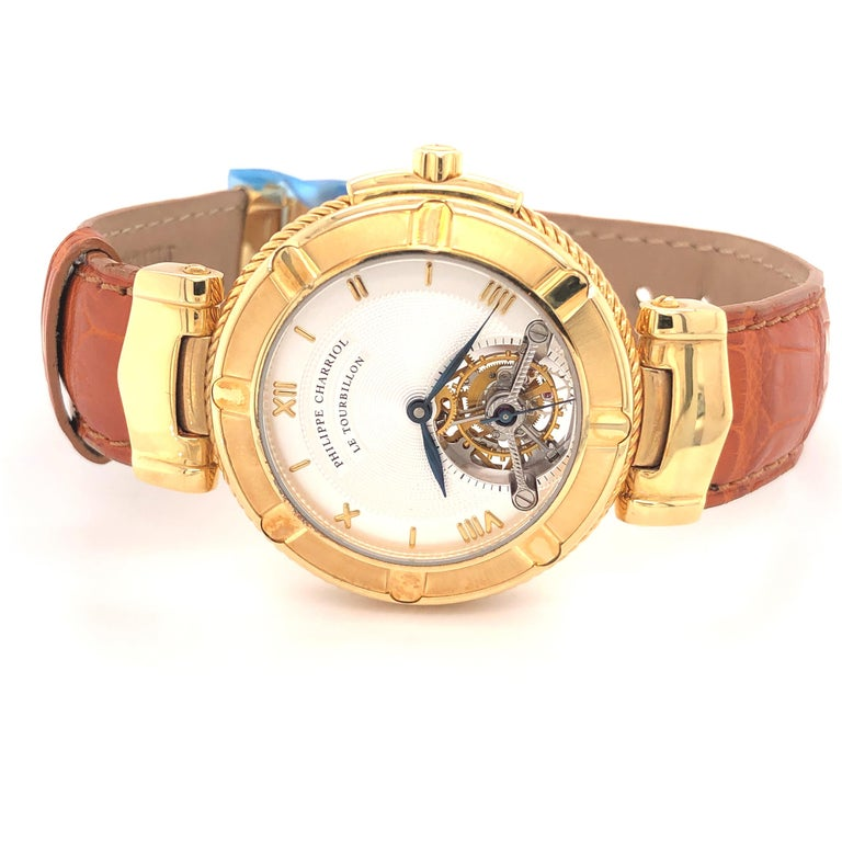 Philippe Charriol Tourbillon 18 Karat Yellow Gold Bezel Watch Limited Edition #4 For Sale 3