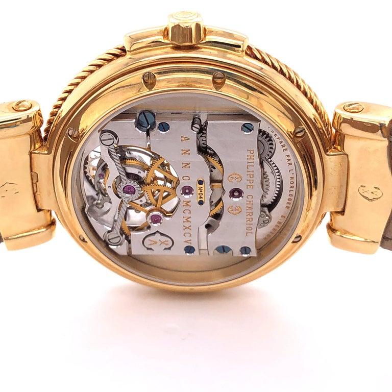 Philippe Charriol Tourbillon 18 Karat Yellow Gold Bezel Watch Limited Edition #4 For Sale 5