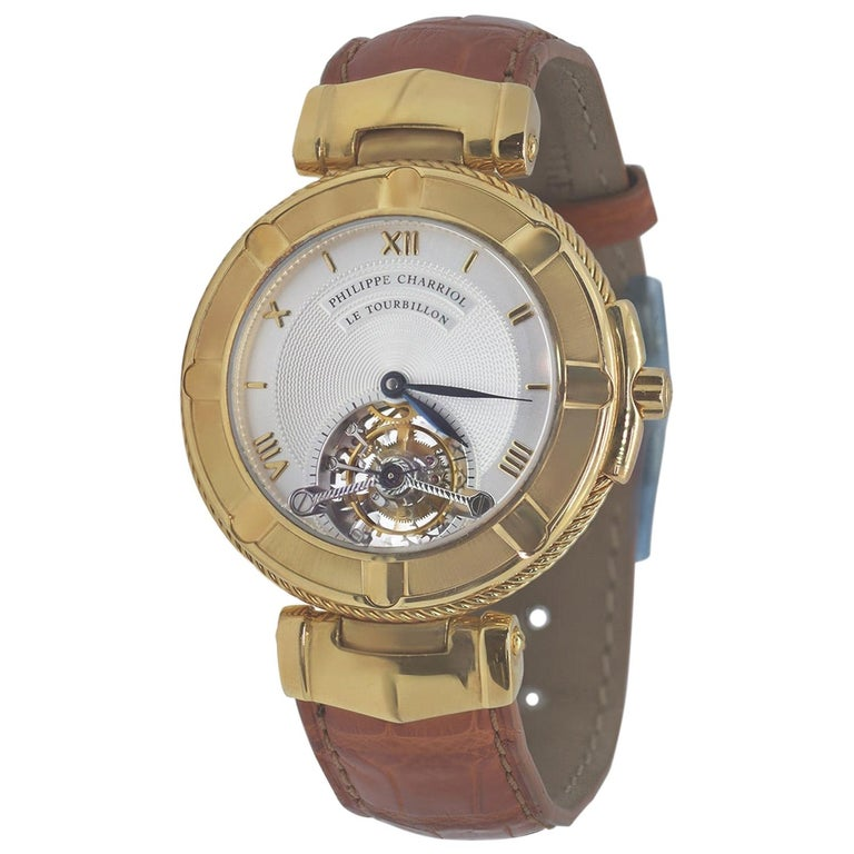 Philippe Charriol Tourbillon 18 Karat Yellow Gold Bezel Watch Limited Edition #4 For Sale