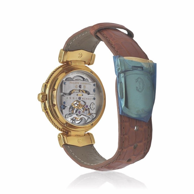 Philippe Charriol Tourbillon 18 Karat Yellow Gold Bezel Watch Limited Edition #4 In New Condition For Sale In new york, NY