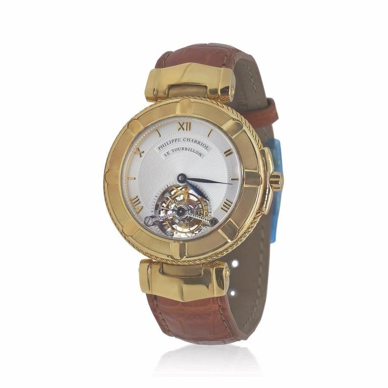 Philippe Charriol Tourbillion 18K Y Gold bezel Watch,attachments and clasp (100.7 total grams) Tourbillon Automatic movement watch on saffron croco strap.  Comes with COA Movement  Tourbillon, manual winding, caliber Philippe Charriol developed by