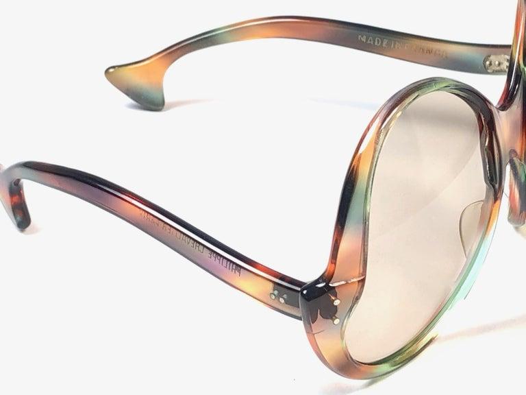 Beige Philippe Chevallier Vintage Multi Color Oversized Sunglasses, 1960s  For Sale
