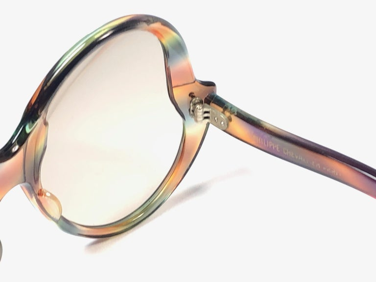 Philippe Chevallier Vintage Multi Color Oversized Sunglasses, 1960s  For Sale 1