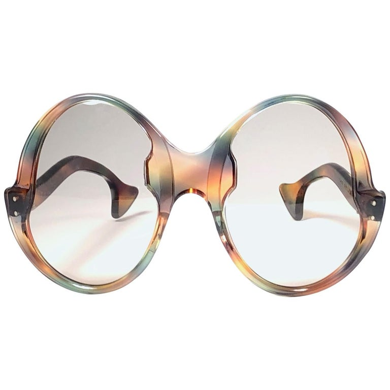 Philippe Chevallier Vintage Multi Color Oversized Sunglasses, 1960s  For Sale