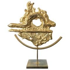 Philippe Cheverny Libra Zodiac Sculpture Signed, Gilded Cast Metal