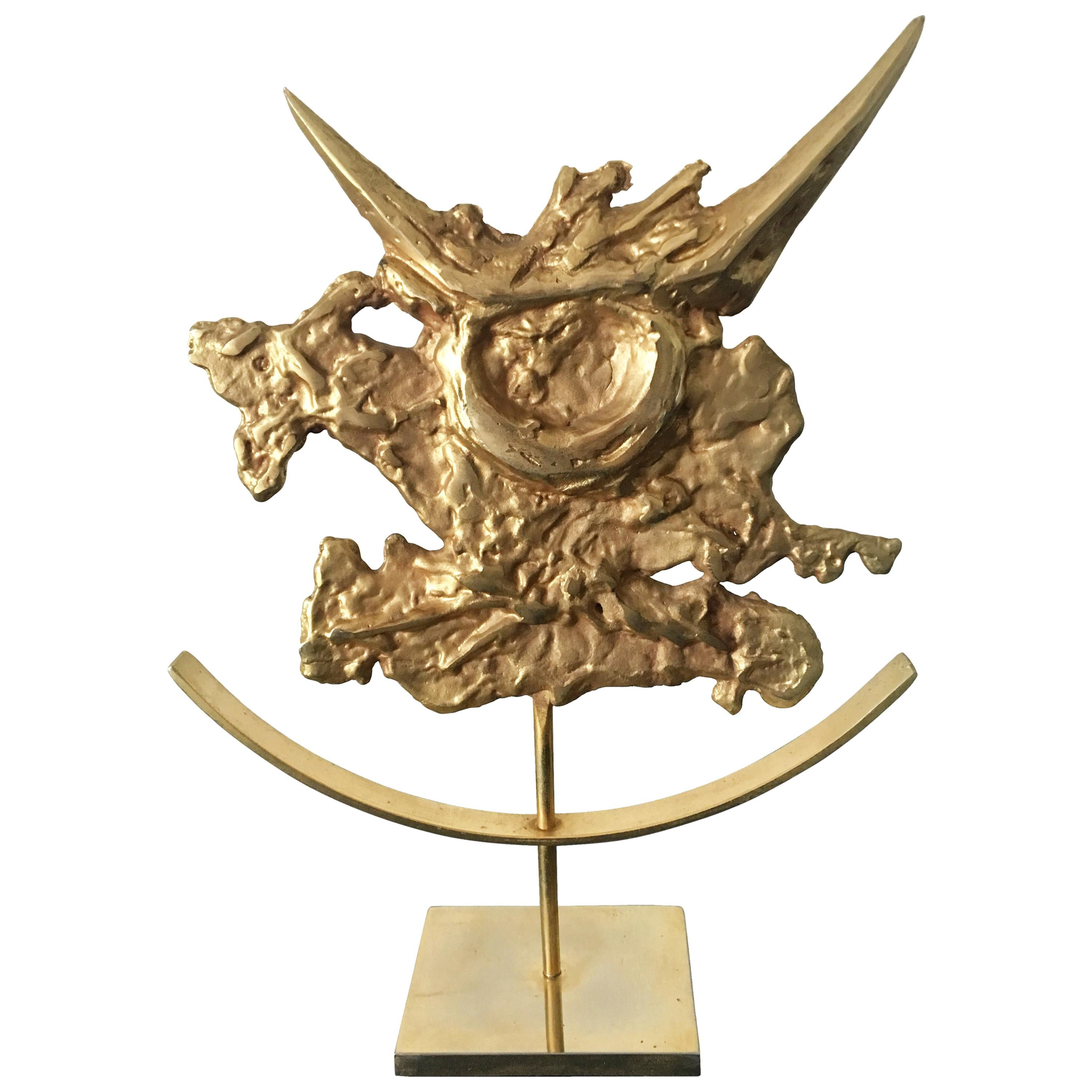 Philippe Cheverny Taurus Zodiac Sculpture Signed, Gilded Cast Metal