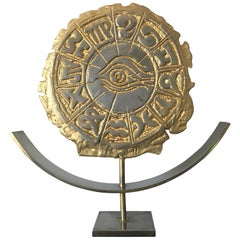 Philippe Cheverny Zodiac Sculpture Signed Philippe Cherverny Cast Metal, Gilded
