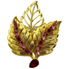 Philippe Ferrandis 1980s Large Gold with Red & Pink Rhinestone Leaf Brooch