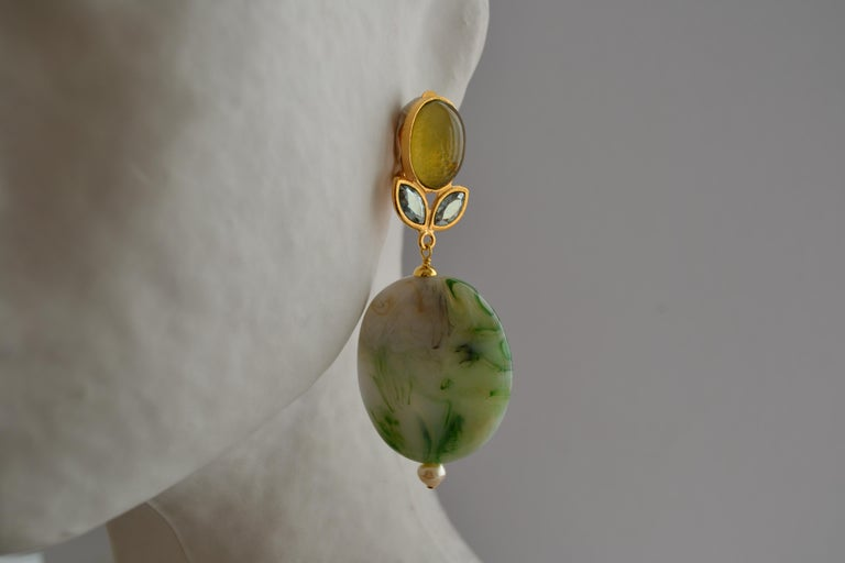 Green agate swirl drop earrings with glass and crystal top and glass pearl bottom from Philippe Ferrandis.