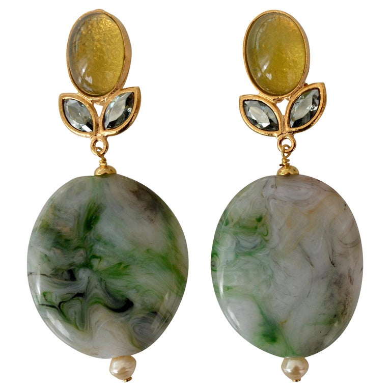 Philippe Ferrandis Agate and Glass Clip Earrings For Sale