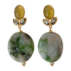 Philippe Ferrandis Agate and Glass Clip Earrings